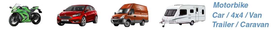 Motorbike, car, 4x4, van, trailer, caravan On-site Fitting